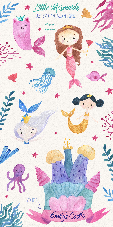Watercolor Mermaids Clipart สต กเกอร สม ดศ ลปะ วอลเปเปอร