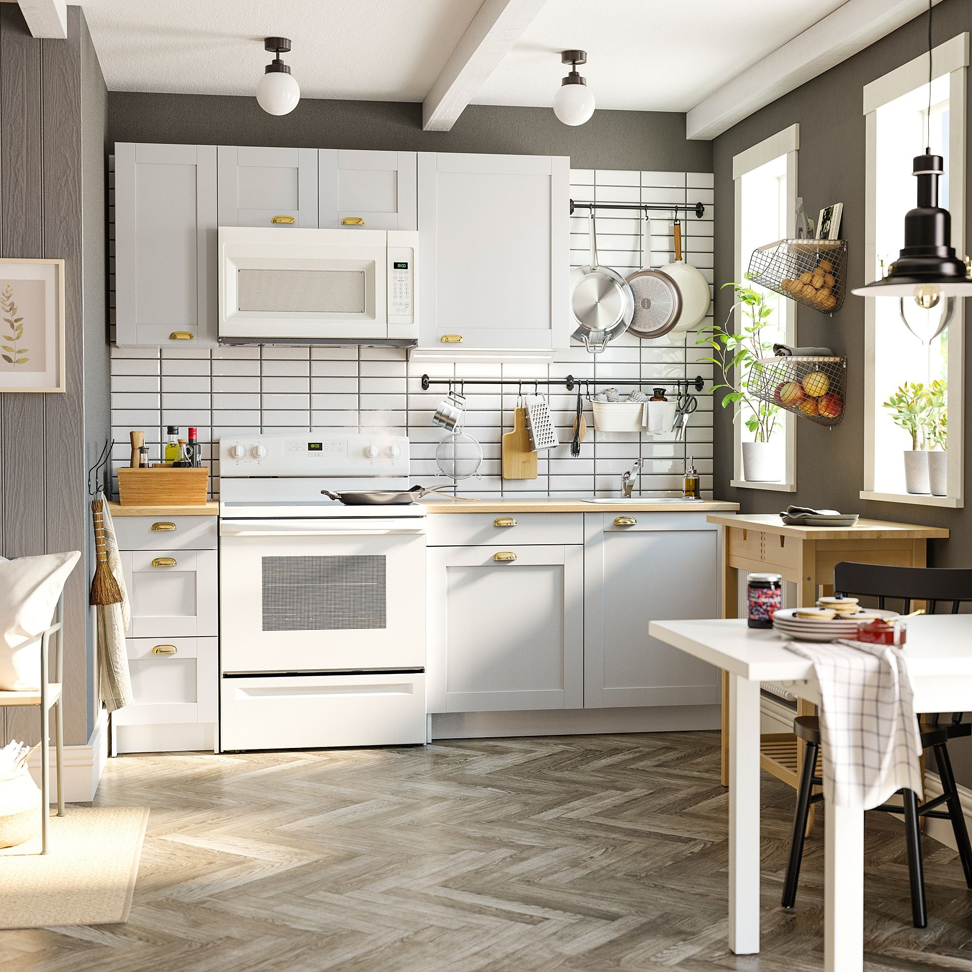 KNOXHULT Kitchen, gray, Height wall 29 7/8