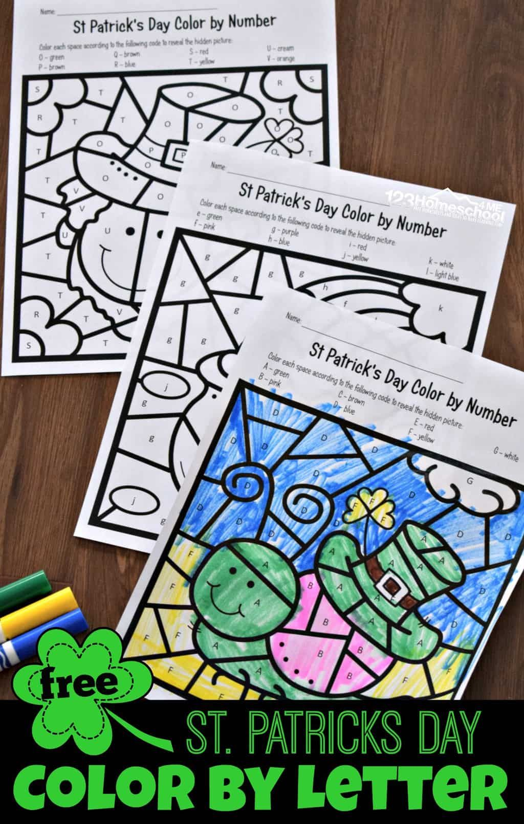 Free St Patricks Day Color By Letter With Images