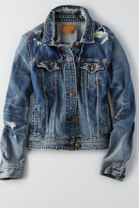 AEO Denim Jacket , Medium Destroyed | American Eagle Outfitters - AEO Embroidered Anorak Jacket Aeo, Denim Jackets And American