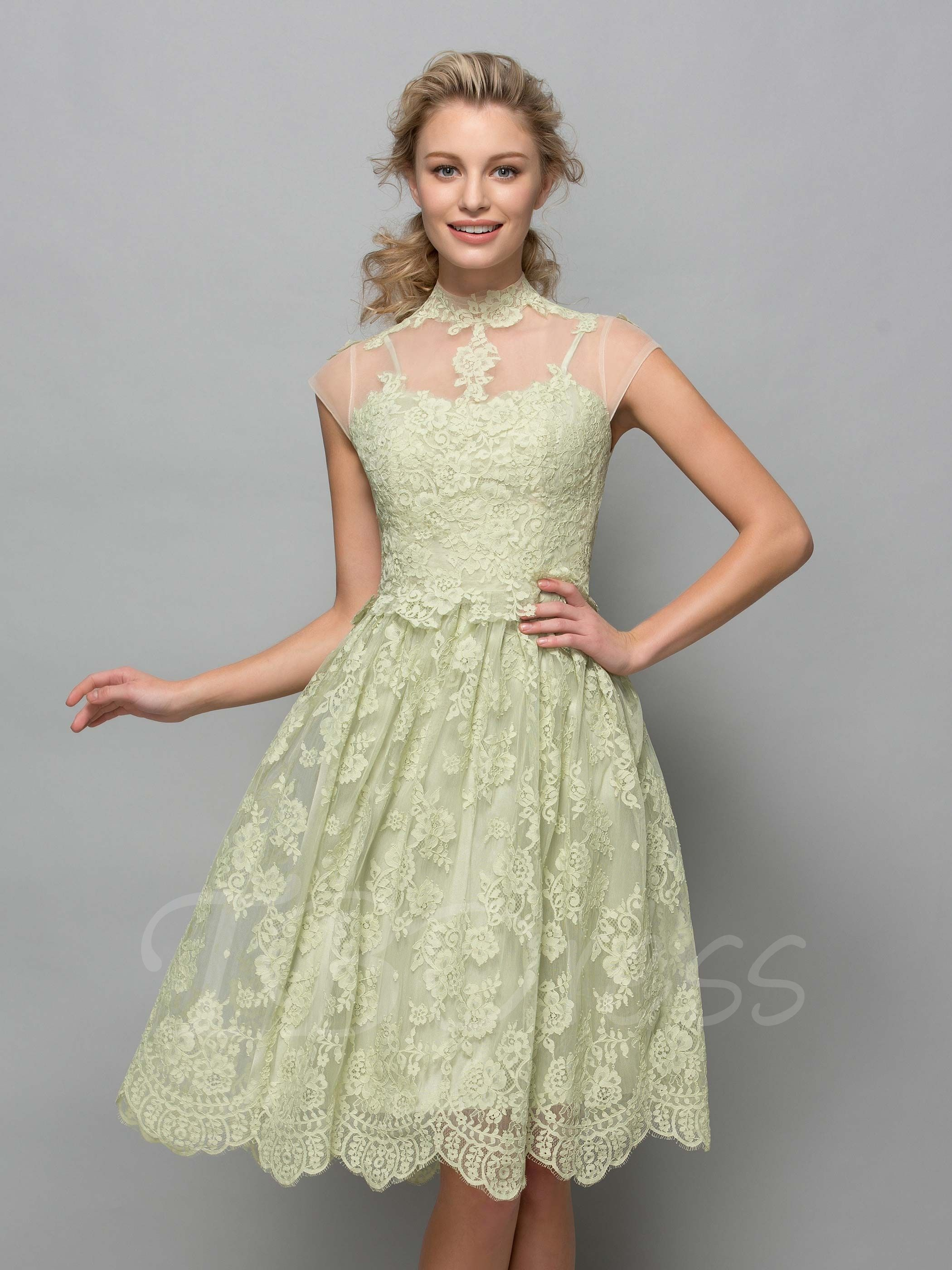 High neck kneelength lace cocktail dress lace cocktail dresses