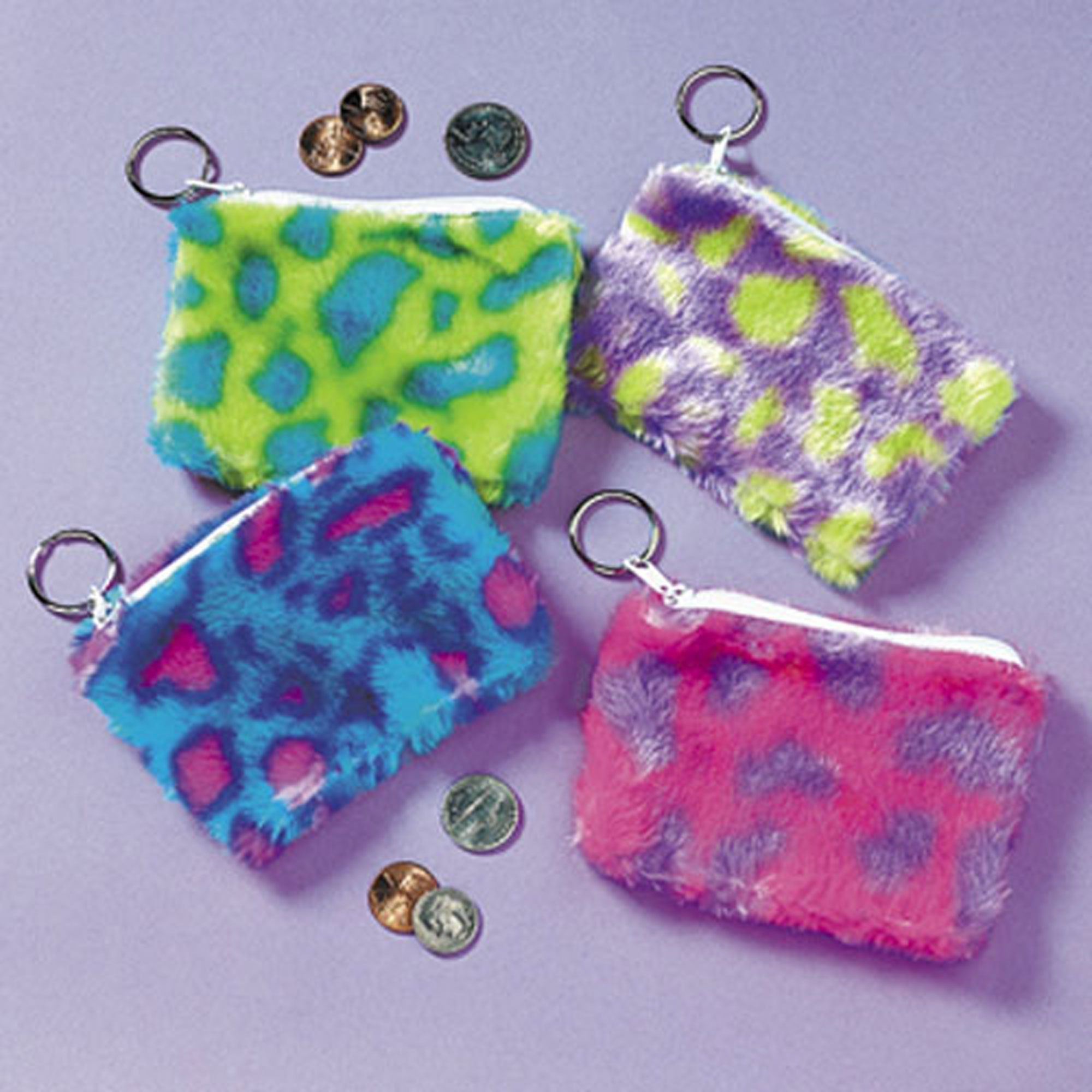 One Dozen Plush Spotted Coin Purse Key Chains #19/222