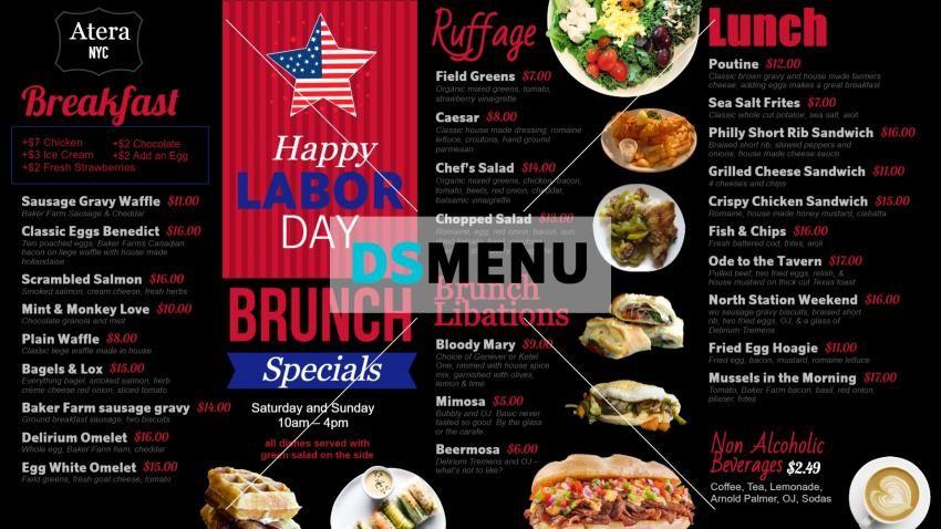 Brunchspecial Digitalsignage Menu Board Design For American Labor Day Menu Design Menu Board Design Digital Menu Boards