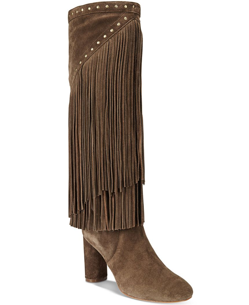 INC International Concepts Women's Tolla Tall Fringe Boots