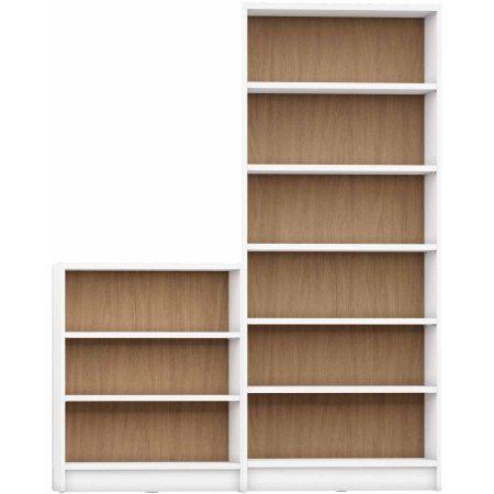 Manhattan Comfort Greenwich 2-Piece Bookcase with 9 Wide Shelves, Beige