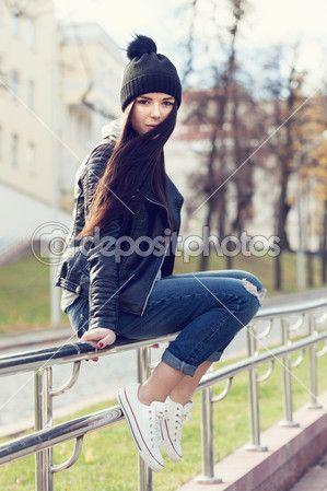 barefoot, cap, converse, footwear, funky, girl, jeans, jacket,