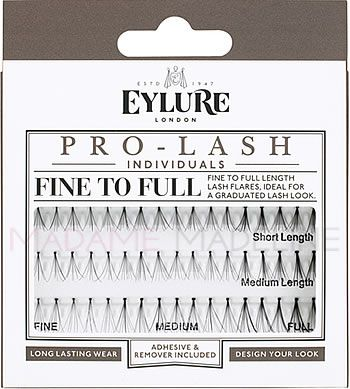 Eylure PRO-LASH Individuals - FINE TO FULL COMBO Pack contain lash clusters from short to medium giving you the option to create a customized look from subtle, dramatic to glamourous. Each tray has 2 sizes - Short and Medium. #eylurelashes #falselashes, #falsies