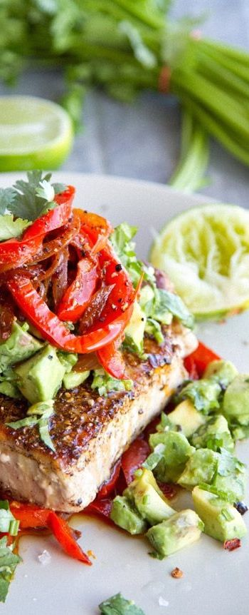 Grilled Tuna Steak, Peppers and Chopped Avocado