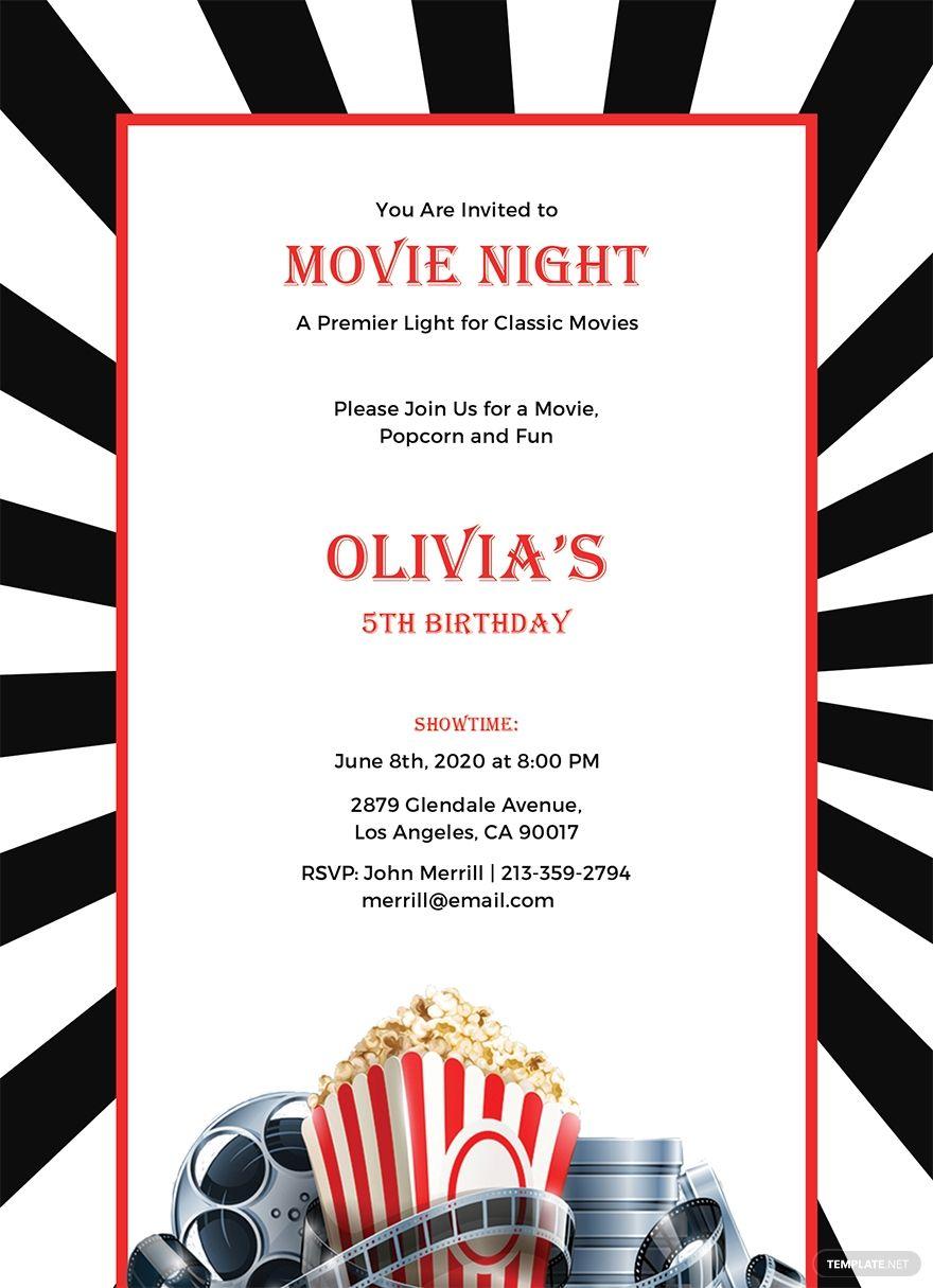 Free movie night invitation template in 2020 movie night