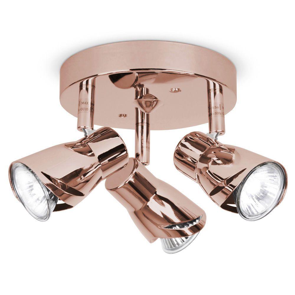 Modern Copper Rose Gold 3 Way Ceiling Spot Light Spotlight Fitting Lights New Ebay Ceiling Spotlights Led Ceiling Spotlights Ceiling Lights