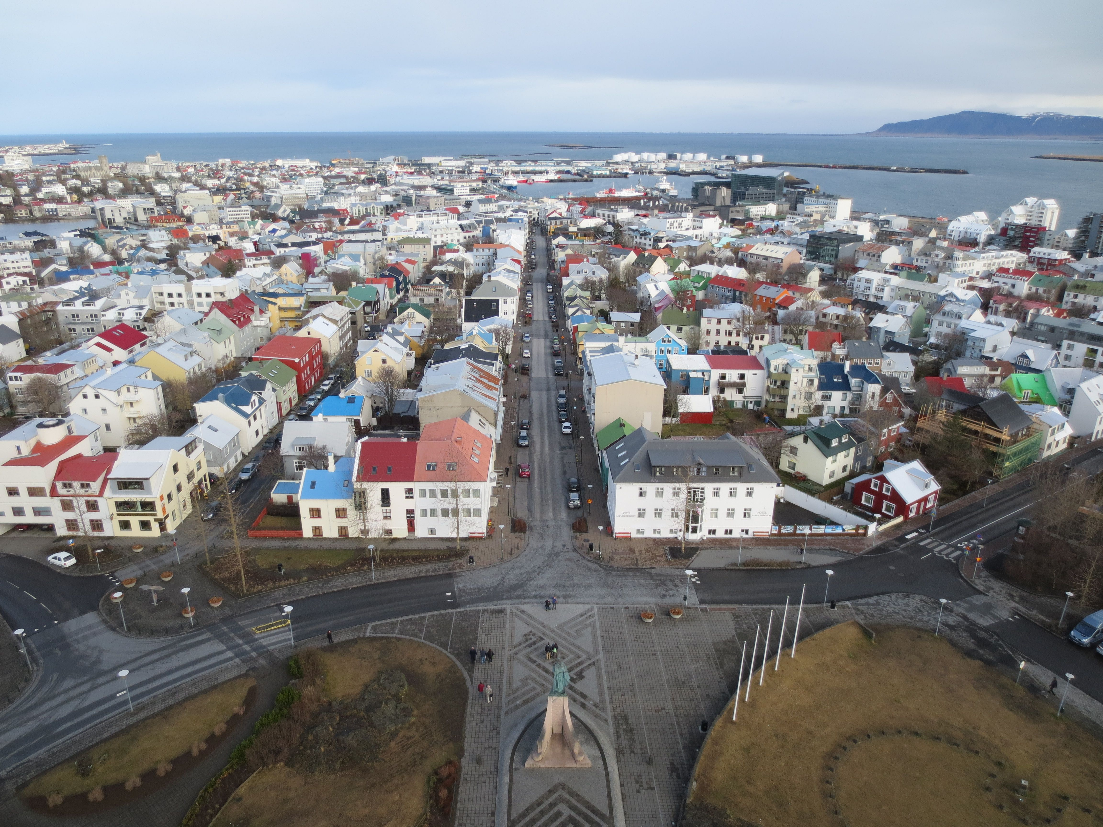 view from the top of th Hallgrímskirkja Reykjavik, Iceland