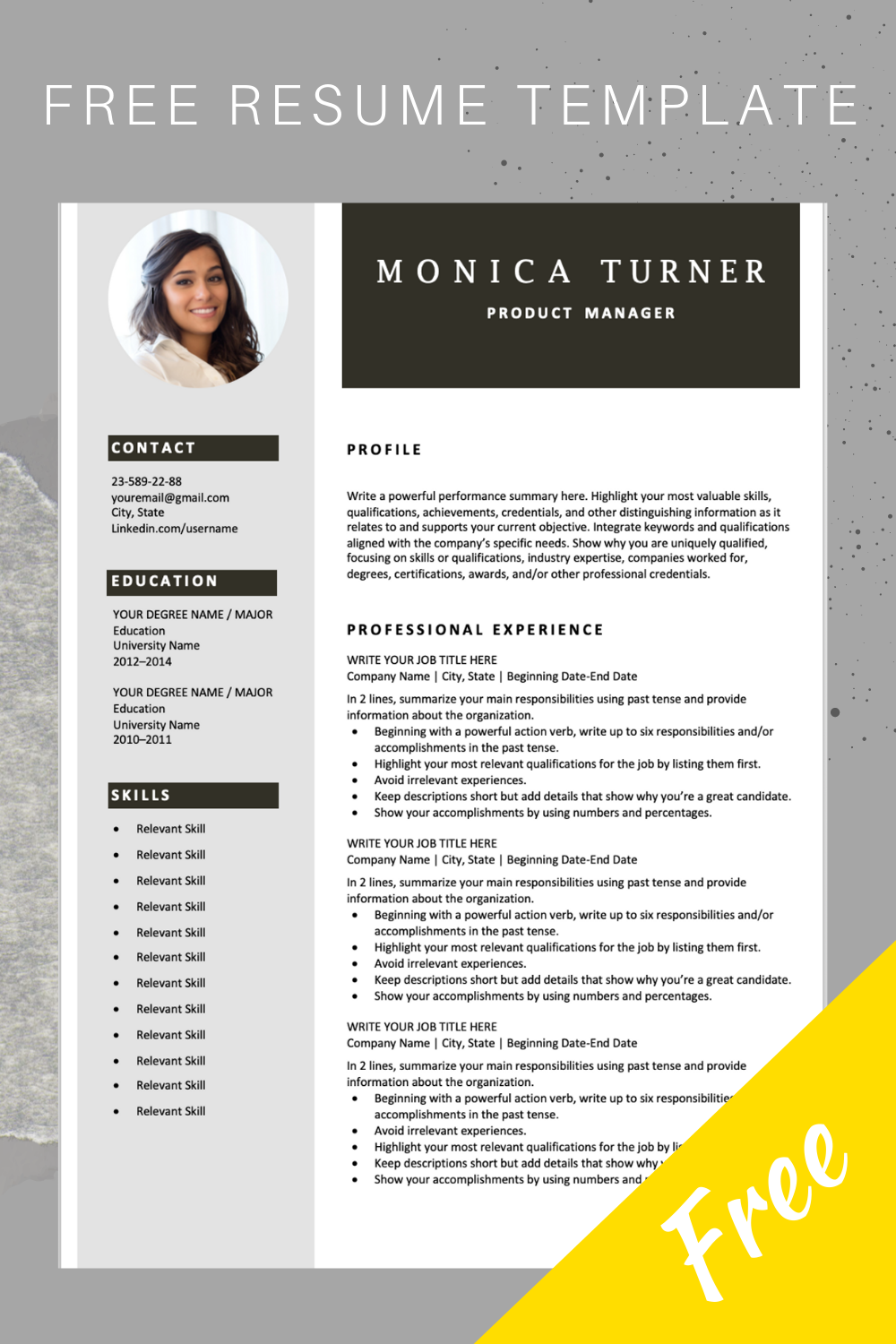 Modern Resume Template Download For Free Downloadable Resume Template Free Resume Template Word Job Resume Template