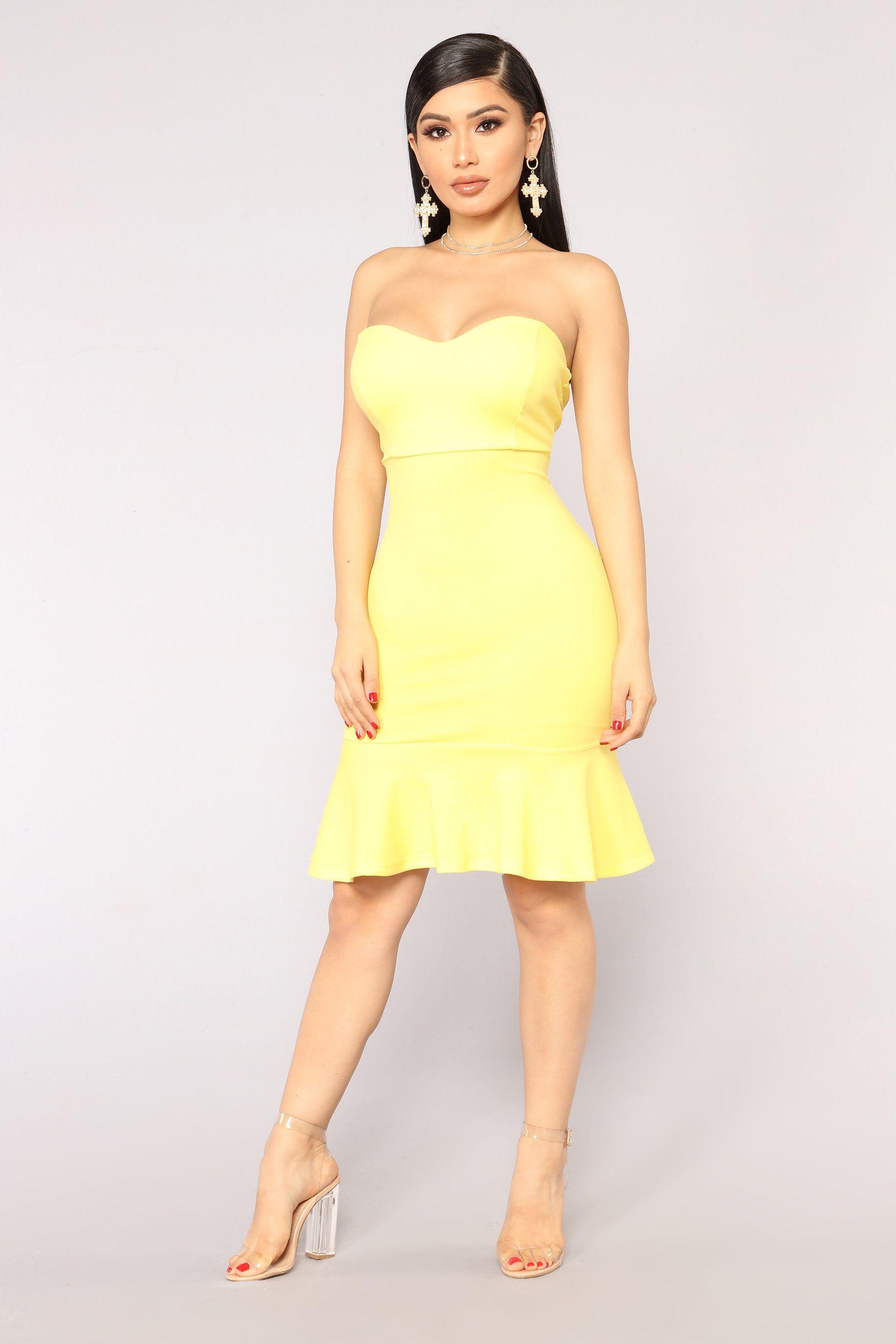 Deeanne Tube Dress - Yellow | Tube
