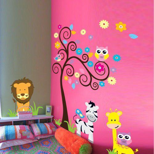 Mzy Llc Tm Owl Zebra Lion Tree Wall Stickers Home Decals