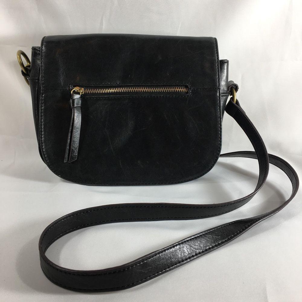 Tignanello Black Leather Medium Saddle Messenger Bag With Flap Crossbody Purse Messengercrossbody