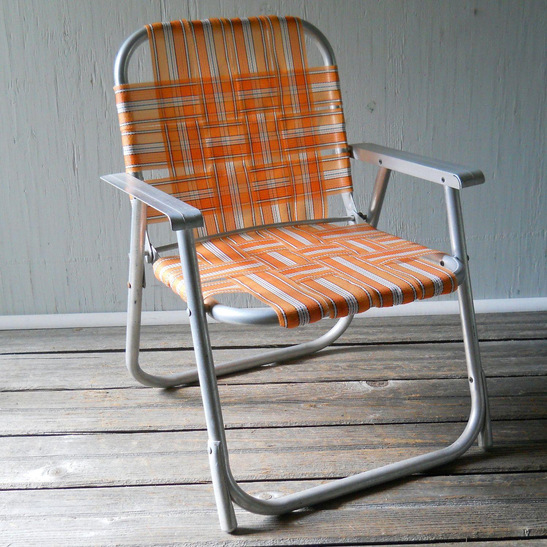 Vintage Folding Lawn Chair Child's Aluminum Folding Chair Orange. - Vintage Folding Lawn Chair Child's Aluminum Folding Chair Orange