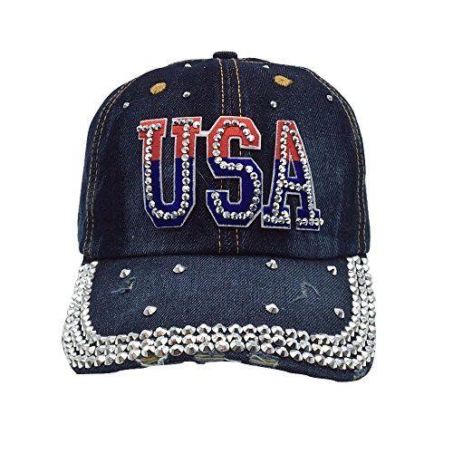 e6d7a589700 Jade USA Studded Rhinestone Bling Adjustable Baseball Cap Hat New Fashion  2017