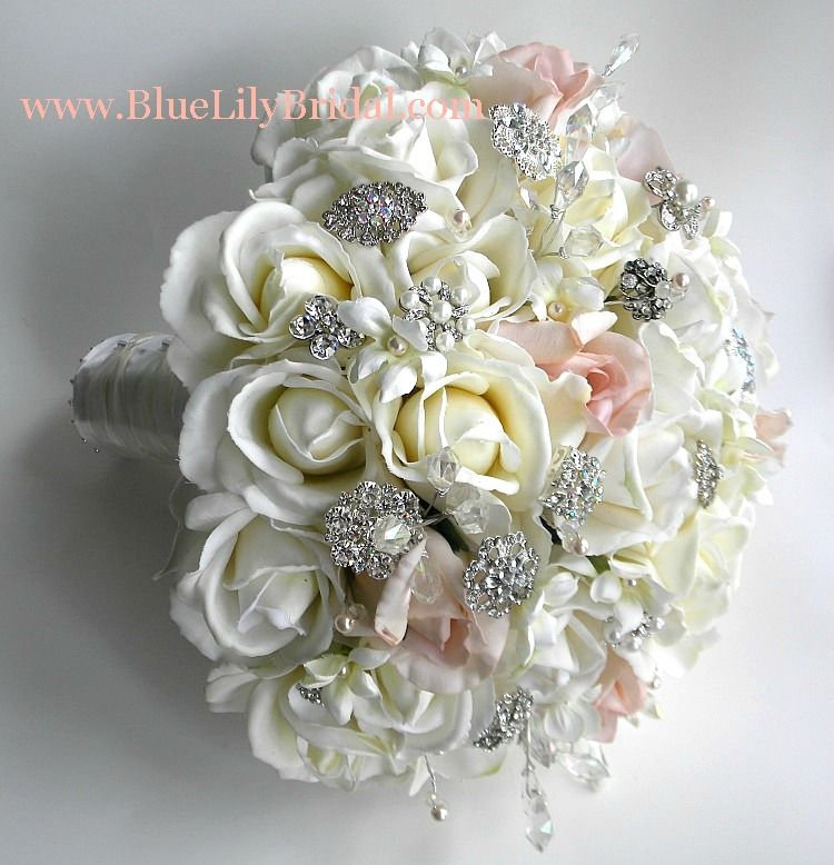 Silk Flower Bridal Bouquets Real Touch Brooch Bouquet Wedding In Ivory