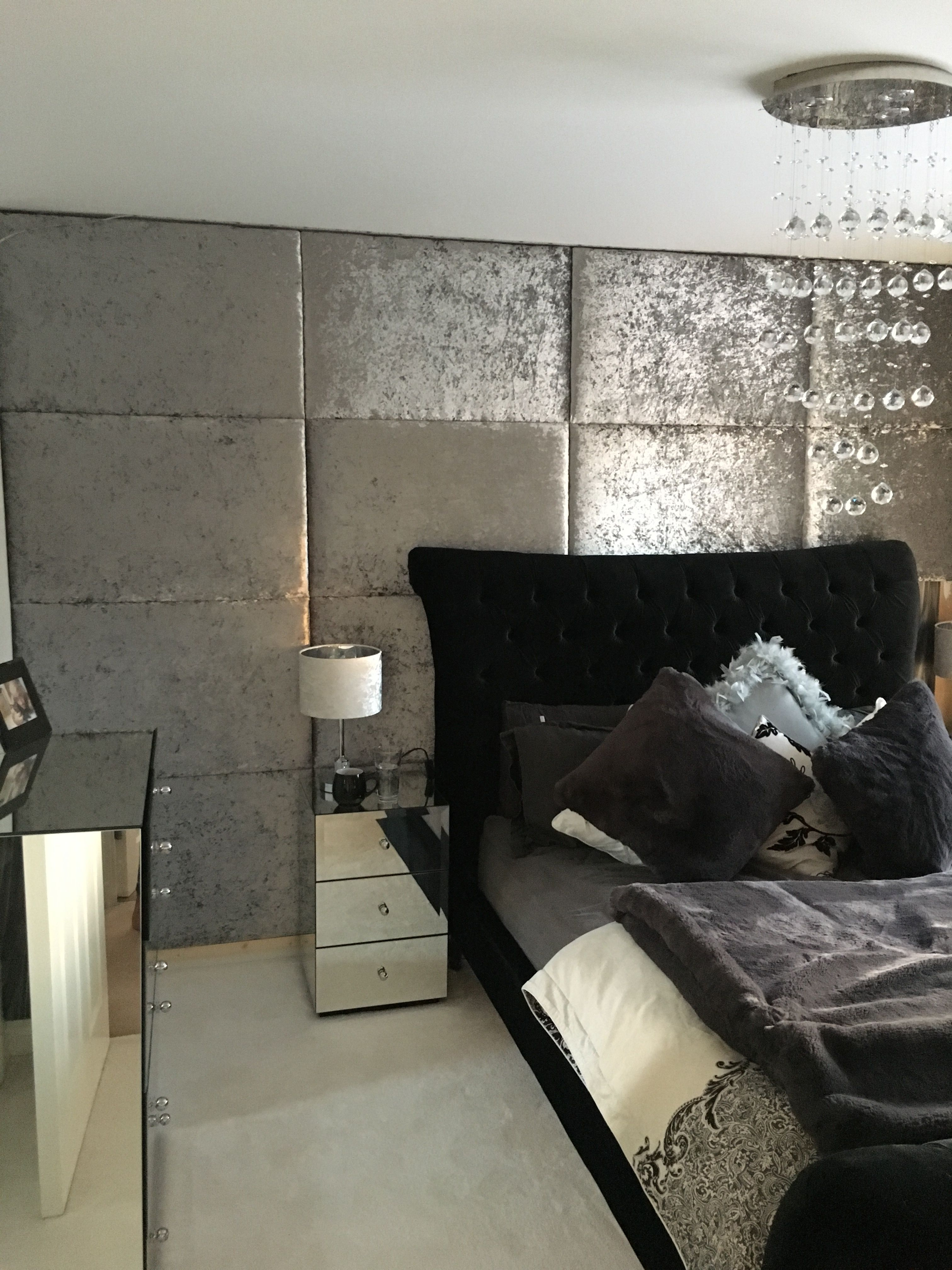 Luxury Crushed Velvet Silver Padded Wall Panels Bedroom Upholstered Walls Wall Panels Bedroom Padded Wall Panels