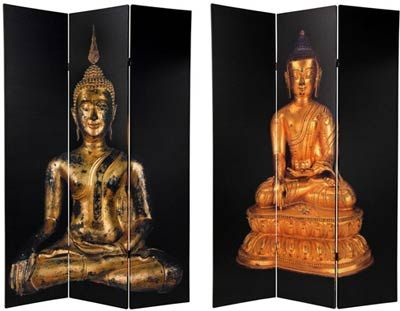 6 ft Tall Double Sided Black Thai Buddha Room Divider Folding