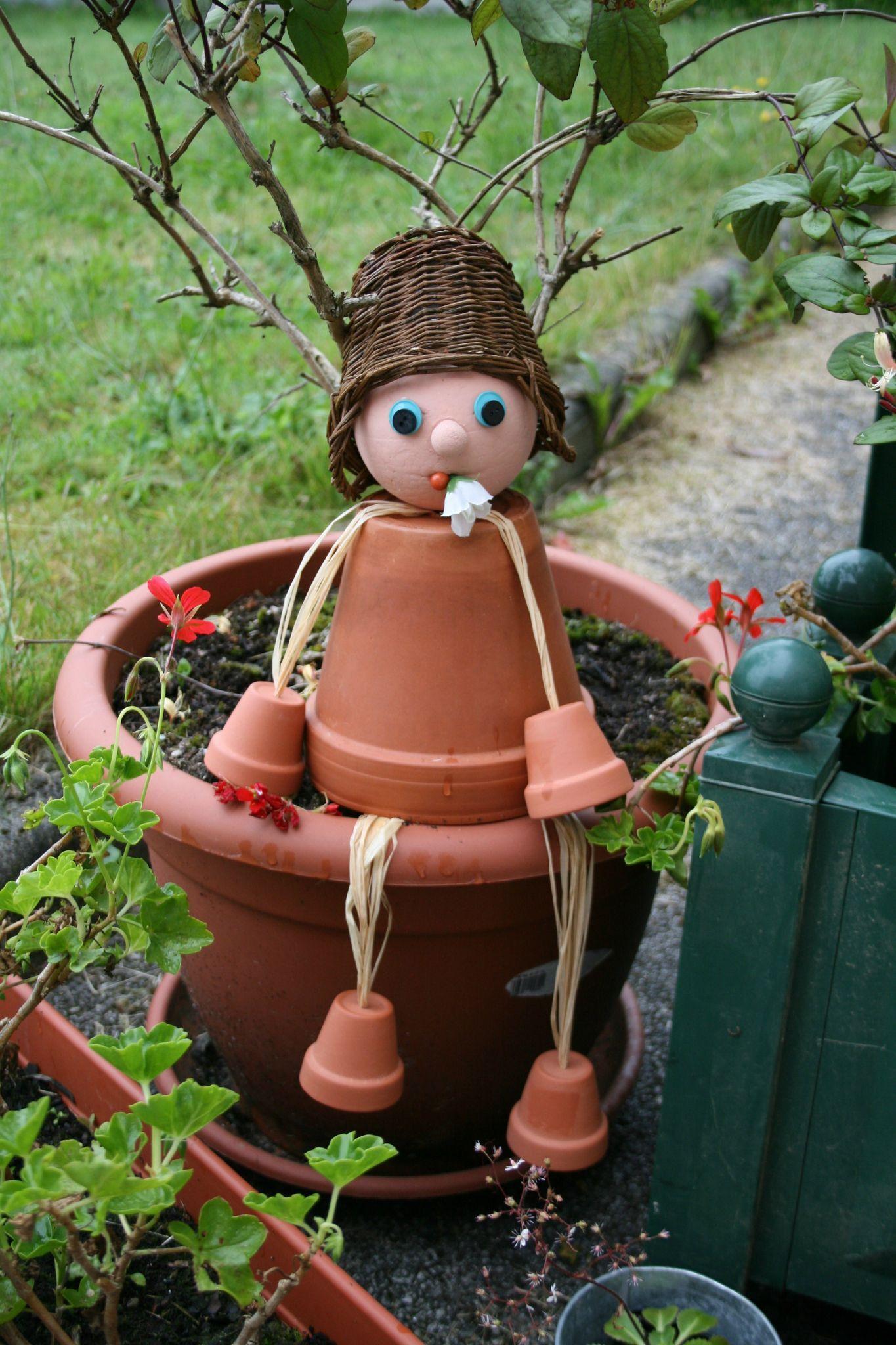 Personnage Pot De Fleur Artesanato De Natal Bolsa De Mao De Croche Placas Para Jardim