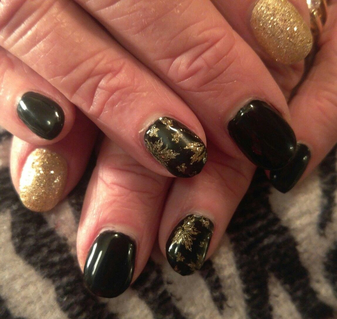 Fall Nail design! Acrylic nails with stamped nail art and gel top ...