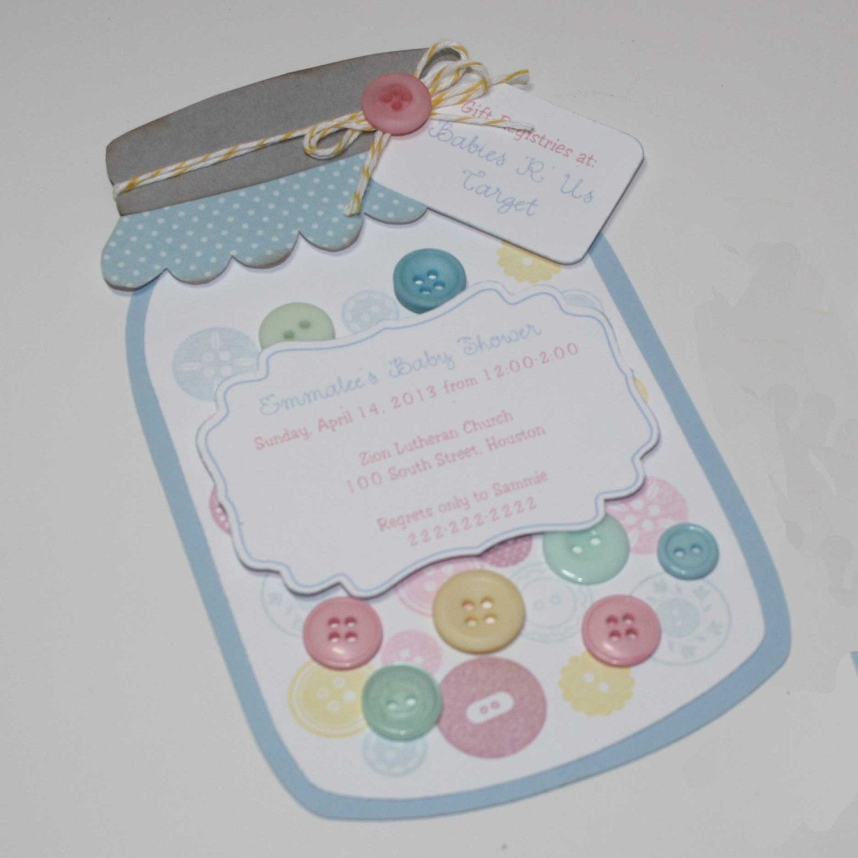 Mason jar Invitation - Baby Shower, buttons invitation, pastel ...
