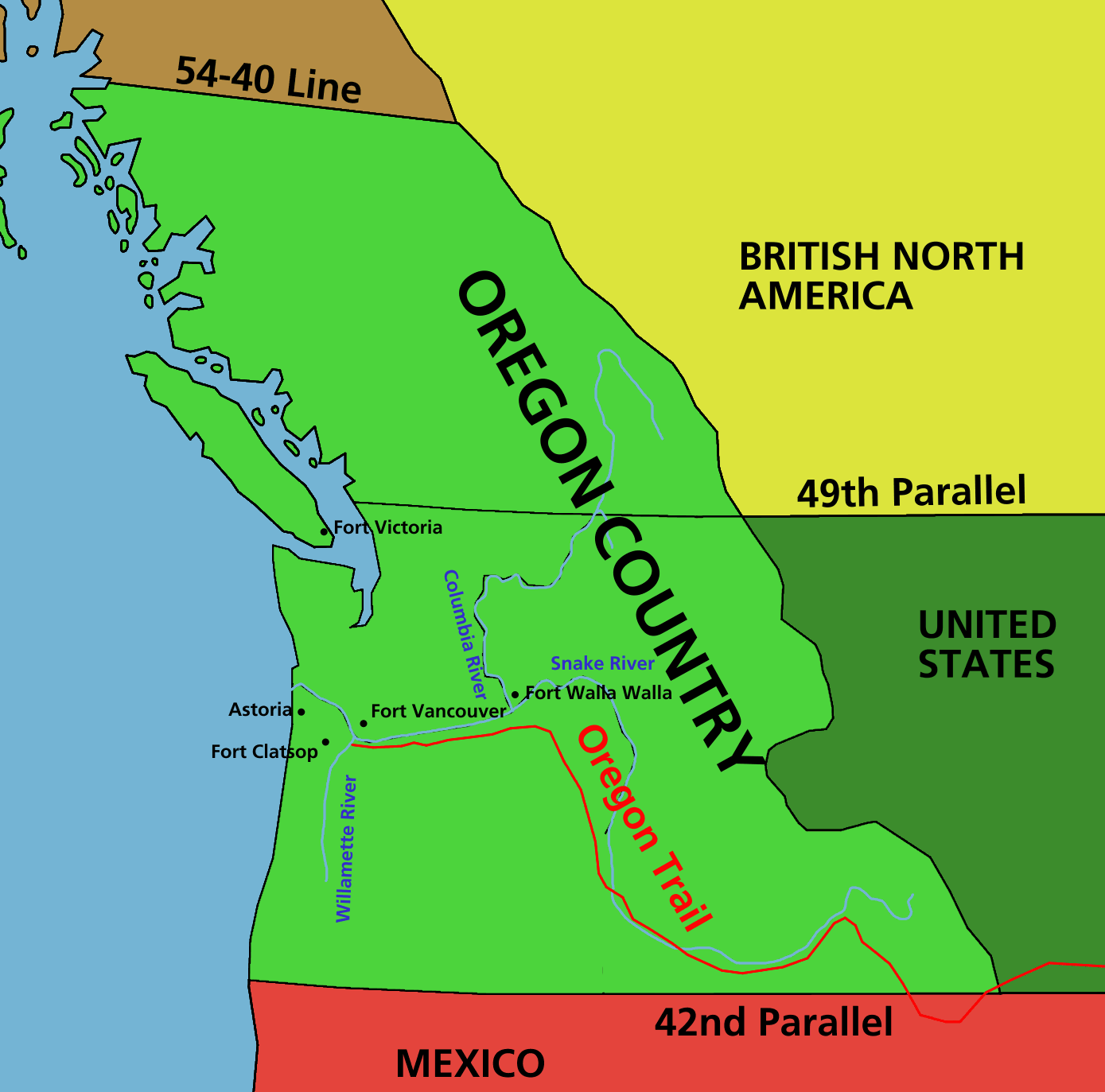 Aug Oregon Country Is Divided Between The United States - Us 1818 border map