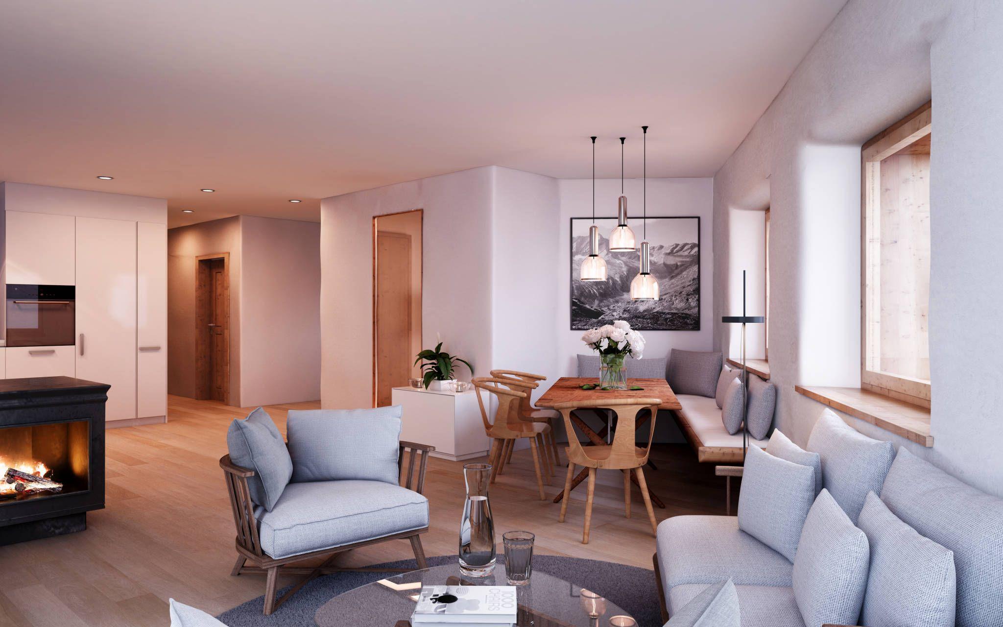 Wohnen-Essen-Küche / Wohnung Erdgeschoss : Rustikale Esszimmer von von Mann Architektur GmbH
