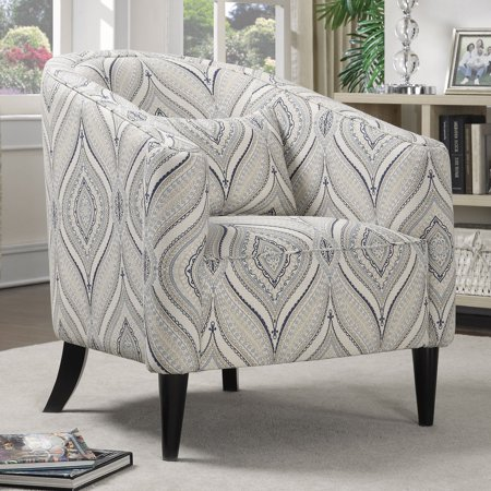 White Accent Chairs Used.Coaster Company Accent Chair Off White Blue Grey Printed Linen