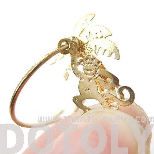 Unique Monkey and Palm Tree Animal Dangle Hoop Earrings in Gold $10 #monkey #jewelry #earrings #cute #animals