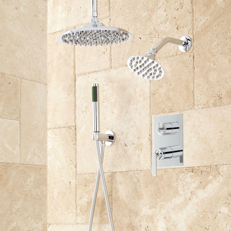 Lattimore Shower System With Rainfall Shower Head Hand Shower