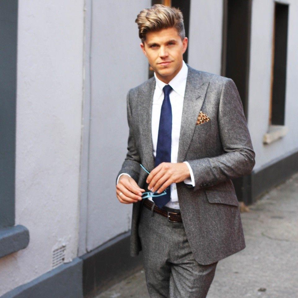 Marble grey tweed suit, Arrow Shirt & navy M&S tie #menswear #mens ...