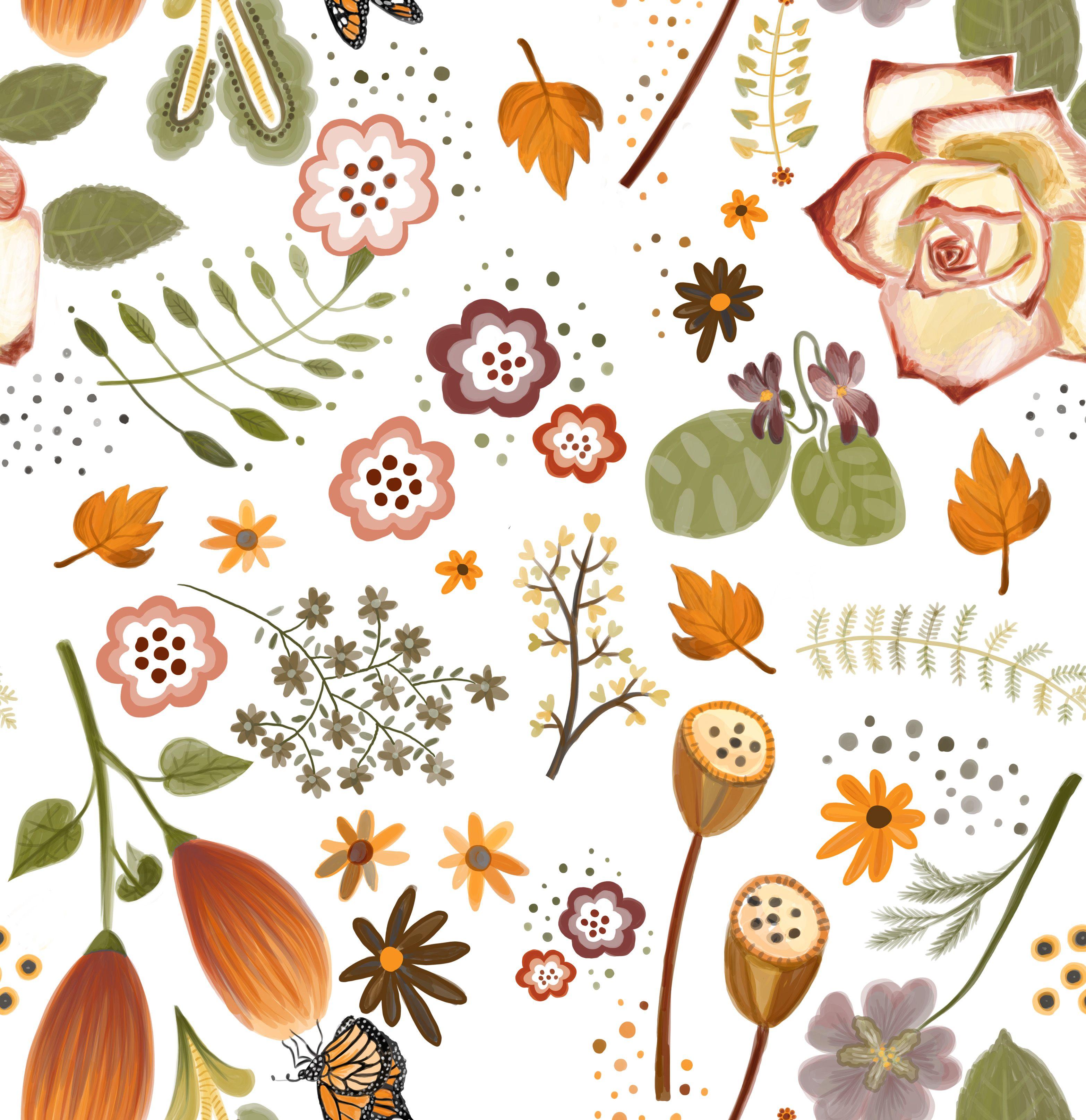 Branka Hollingsworth Autumn Flowers Pattern Digital Illustration 2015 Digital Illustration Fall Flowers Flower Patterns
