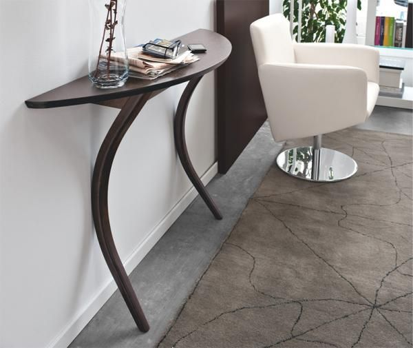 Attractive Calligaris Modi Contemporary Wenge Stained Wood Half Moon Console Table