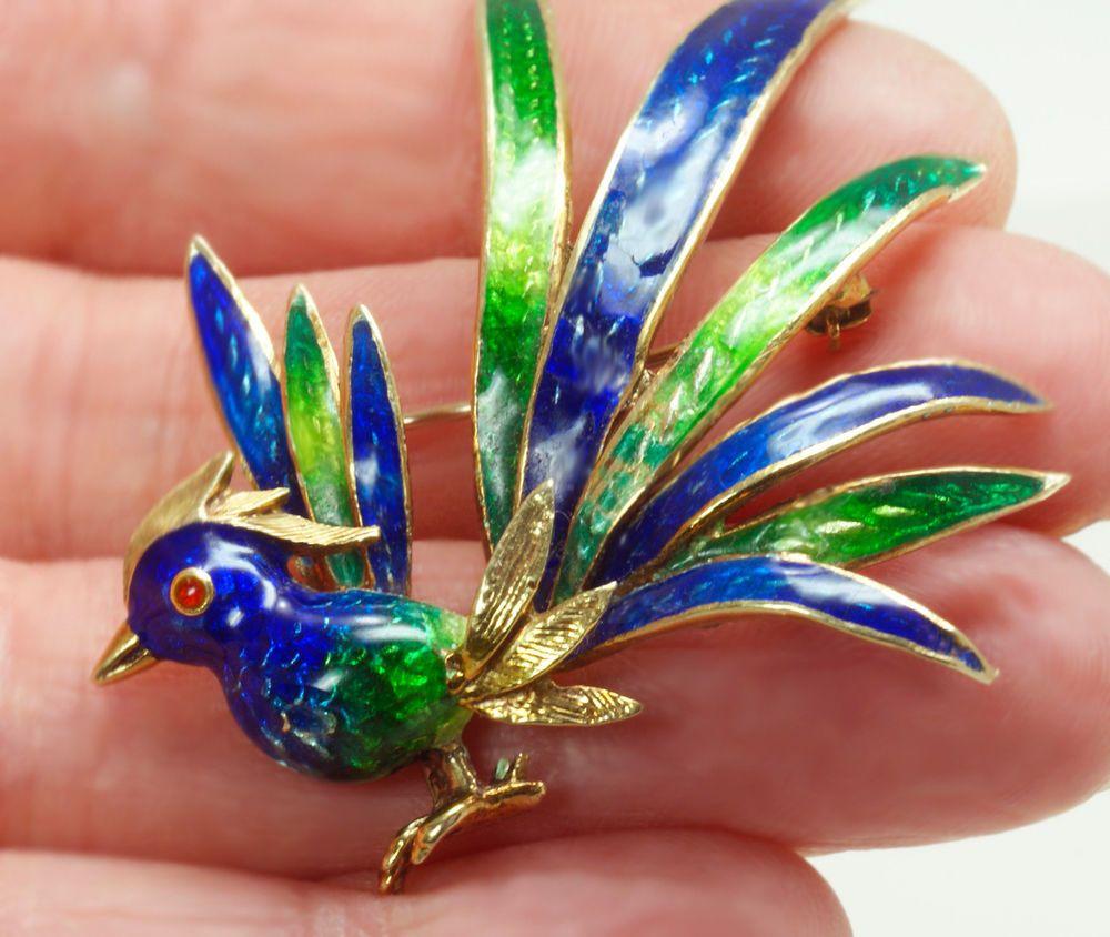 """Vintage Enameled 14K Beautiful Peacock Brooch or Pin 2-1/4"""" x 1-3/4"""" 18.2 grams"""