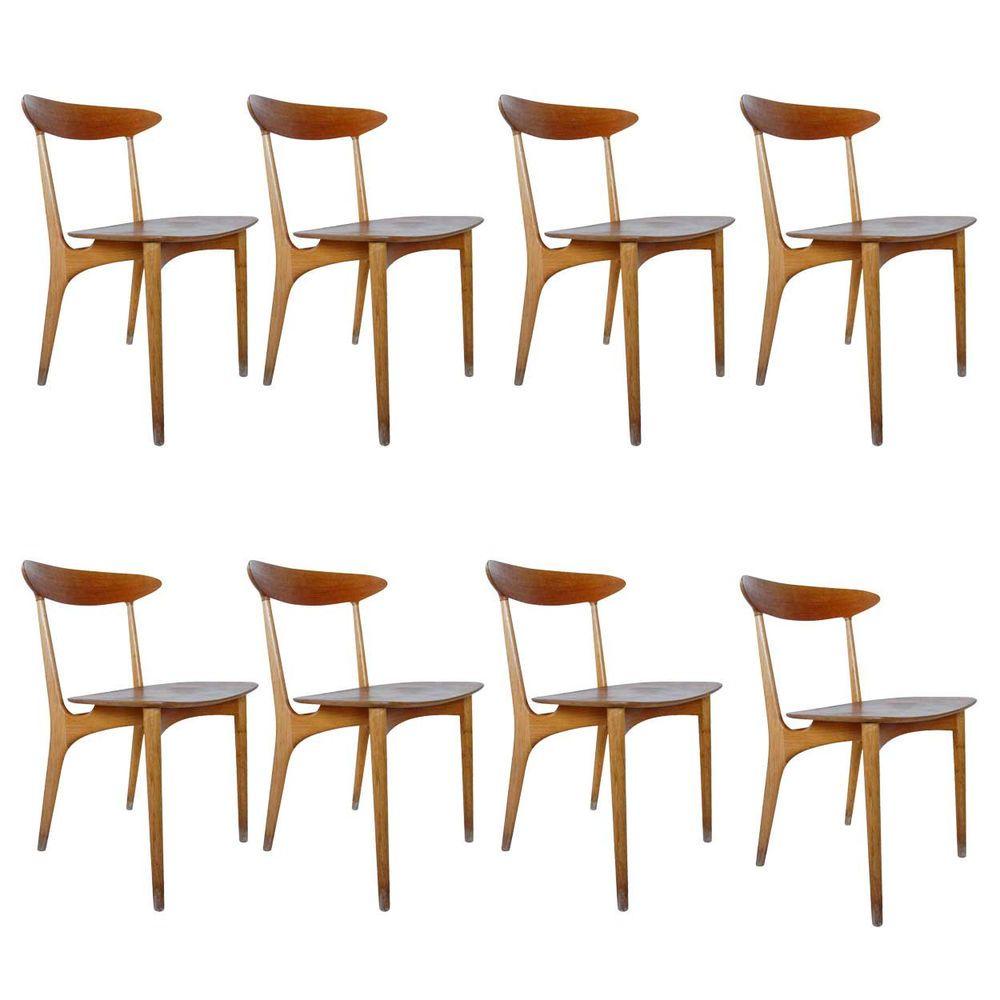 Set of Eight Danish Modern Kurt Ostervig for Brande Teak Dining Chairs 1955 #KurtOstervigforBrande