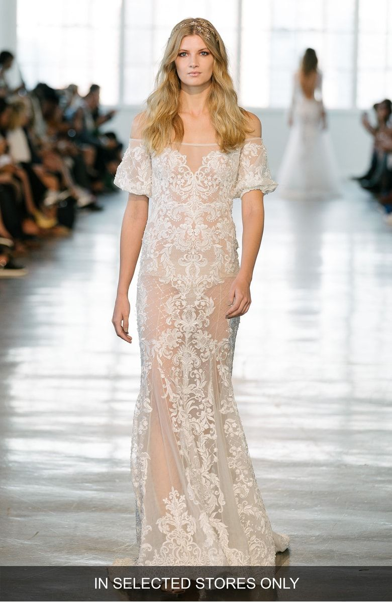 Lace off shoulder wedding dress august 2019 Berta Lace Off the Shoulder Mermaid Gown  Nordstrom  boho sexy