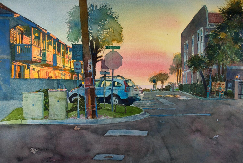 Beach 10th Street Watercolour Inspiration Watercolor Florida