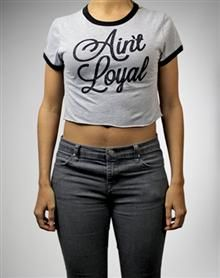 Ain't Loyal Ringer Junior Fitted Crop Top