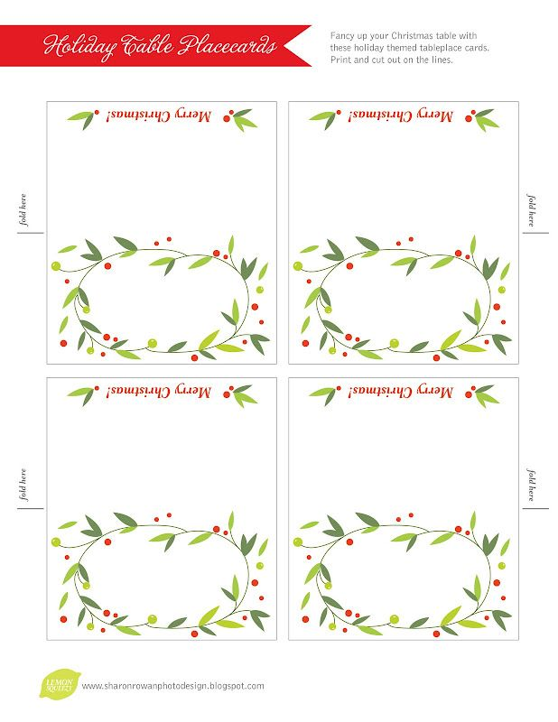 Free Place Card Template Christmas Templates