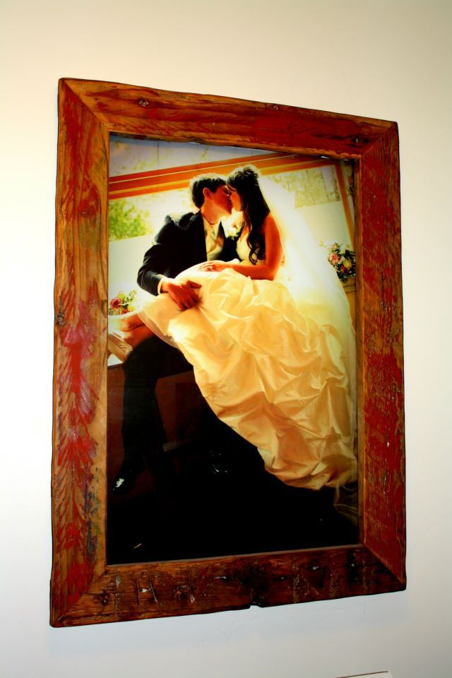 A frame the hubby made for one of our wedding photos.