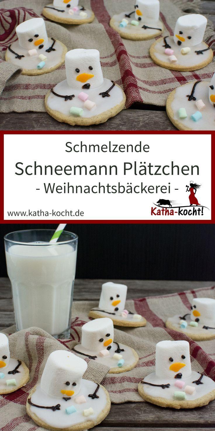 Weihnachtsgebäck - schmelzende Schneemann Plätzchen - Katha-kocht! #bastelnadventkinder