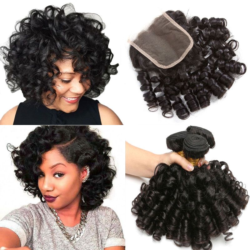 2021 3 Hair Bundles With Closure Bouncy Curly Human Hair Weave Bundles With Closure Funmi Peruvian Hair Bundles With Closure Non Remy 1b From Rarehair1 98 18 Peruvian Hair Bundles Weave Hairstyles Curly Weave Hairstyles