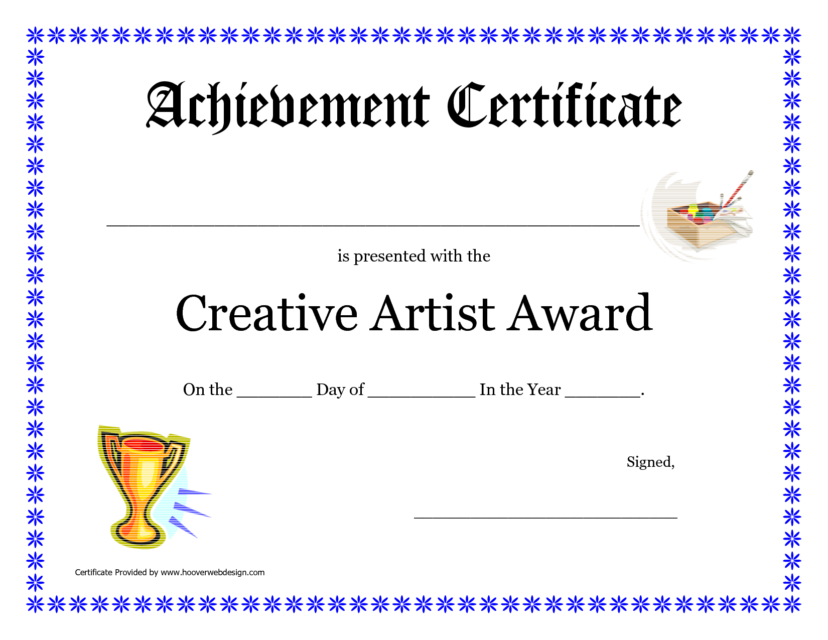 Creative Artist Award Printable Certificate Pdf CakepinsCom