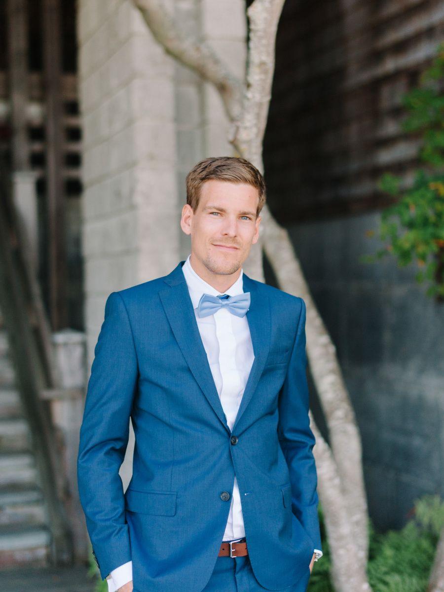 Romantic Washington Island Wedding | Cobalt blue suit, Rose ...