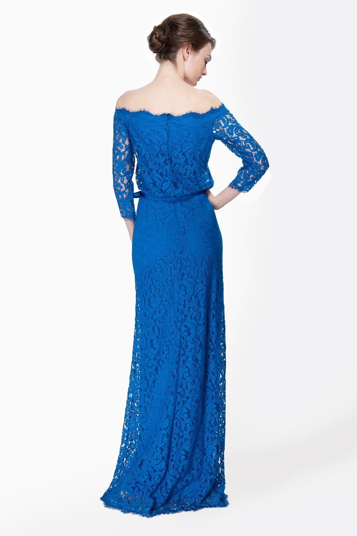 Lace Off Shoulder ¾ Sleeve Gown in China Blue - Evening ... - photo#10