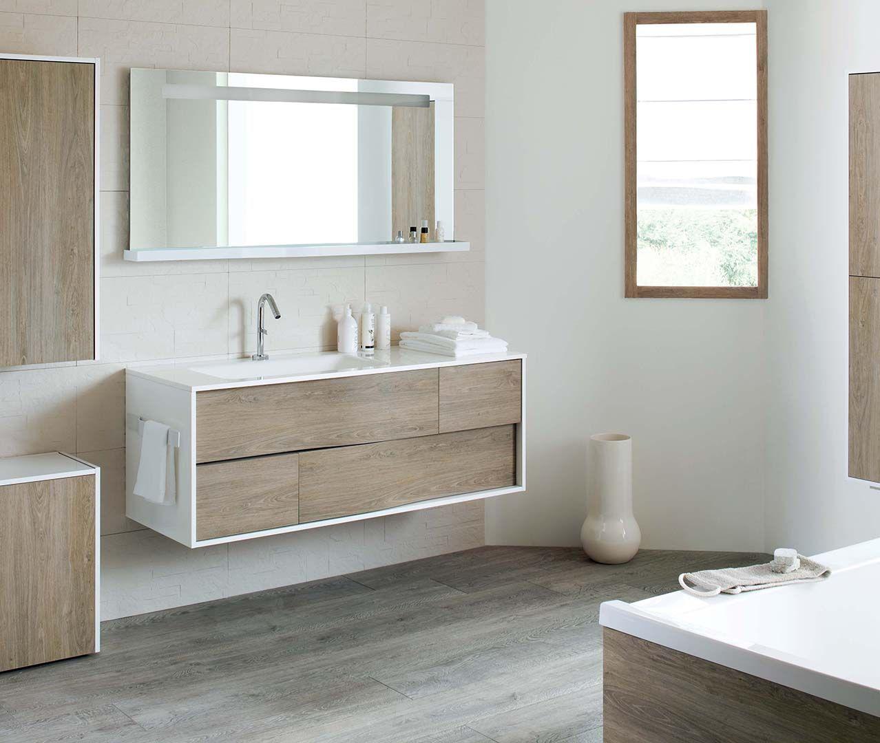 Bois et blanc : mixez les matières avec une salle de bain en bois et ...