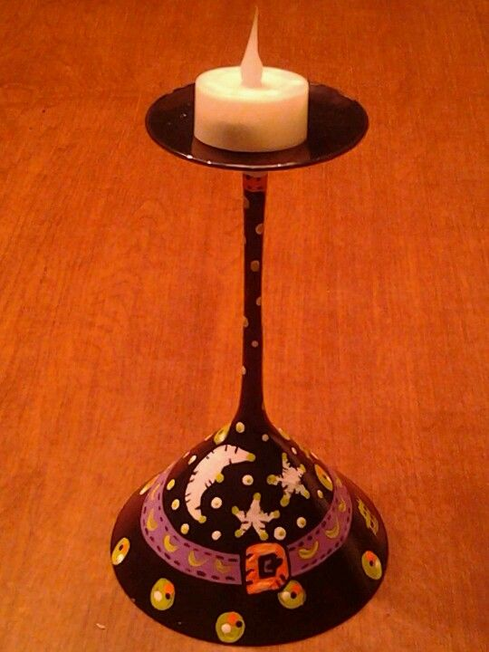 martni glass witches hat used as votive candle holder