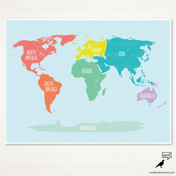 Nursery World Map Poster Kids Room Decor Educational Map Print